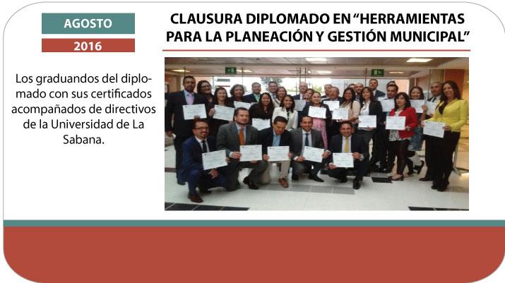 """Clausura diplomado en """"Herramientas para la planeación y gestión municipal"""""""